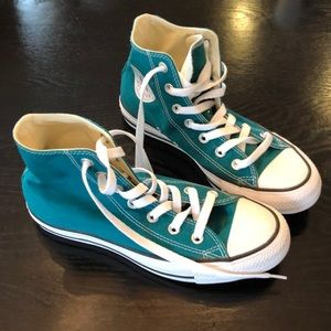 Never worn! Sz 7 women - teal Converse